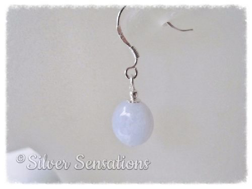 Pastel Blue Lace Agate Coin & Sterling Silver Short Drop Earrings